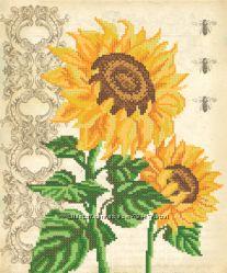 Винтажные подсолнухи. Ткань с рисунком для вышивания бисером ТМ Маричка