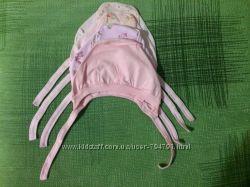Чепчики, шапочки для новорожденных на завязках, в наличии