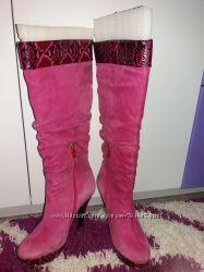 Сапоги замшевые розовые