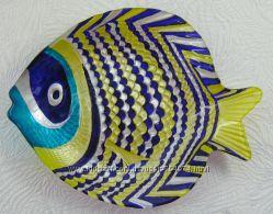 Тарелка Рыба Pomacanthus. Витражная роспись посуды.