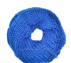 Женский вязаный шарф снуд хомут объемная резинка