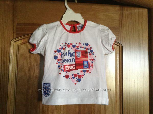 Новая футболка на 2-3 года Англия маломерит