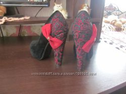 Туфли с кружевом и бантом. р 35-36