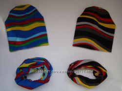 Модные комплекты шапочка и шарфик-хомут для мальчиков и девочек