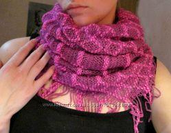 Женский шарф хомут снуд, розовый