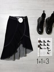 NA-KD джинсовая миди юбка XS-S на талию асимметрия волан вырез прямая джинс