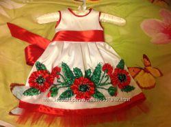 Платье - вышиванка вышитое платье лентами