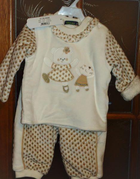 Новый тёплый костюм пушистик толстовка и штаны FLEXI , Турция р.74, 6-9мес