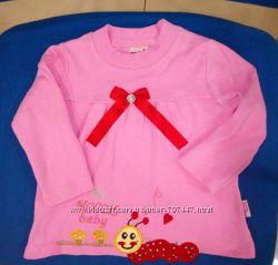 Розовый плотный реглан с гусеничкой р. 92, Турция.