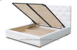 Кровать двуспальная кожаная Лафесста с мягким изголовьем и подъемны