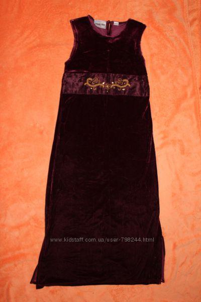 Красивое вечернее велюровое платье на 9-11 лет