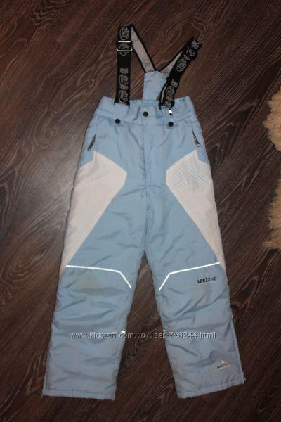 Лыжные фирменные штаны полукомбинезон рост 128-134см