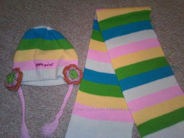 Яркий вязаный комплект шапка и шарф на 2-6 лет