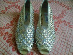 Золото с серебром летние плетёнки балетки
