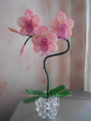 Орхидея Нежность из бисера ручной работы
