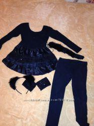 Классный костюм Кошечки девочке 4-6 лет. Мех натуральный кролик
