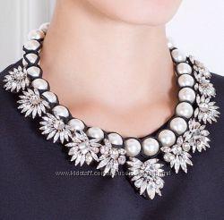 Белое ожерелье колье жемчужное