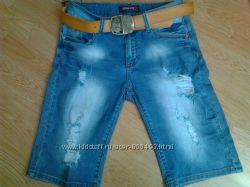 Классные, качественные и красивые  джинсовые бриджи 28размер