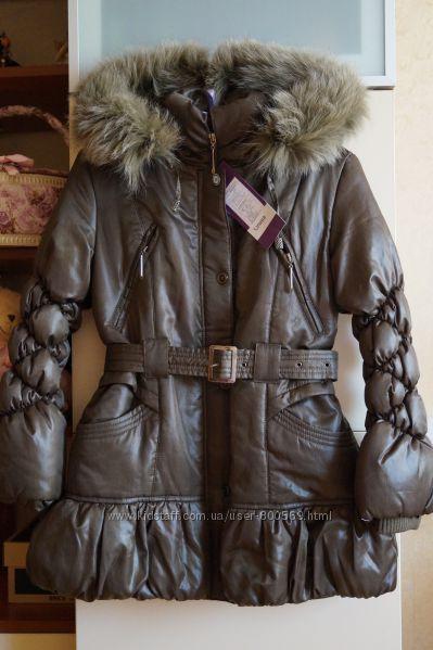 Зимнее пальто, пуховик, куртка для девочки, новое, опушка-песец, р. 32-36