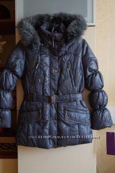 Зимнее пальто, пуховик, куртка для девочки, новое, опушка-песец, р. 38-42