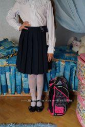 Юбка школьная синяя новая фирменная на 7, 8, 9, 10, 11, 12 лет рост 134-158