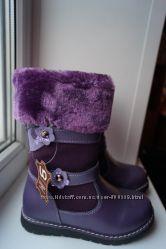 Сапоги зимние кожаные для девочки, фиолетовые, новые р. 27, 28, 29