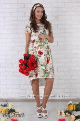 Красивое платье для беременных и кормящих мам, маки