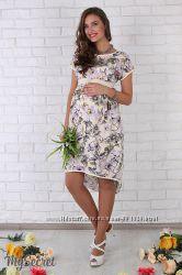 Оригинальное летнее платье для беременных и кормящих мам, лилии