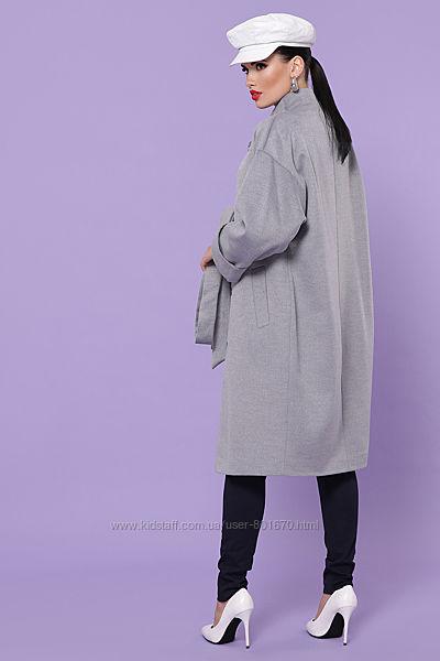 Кашемировые серое пальто деми
