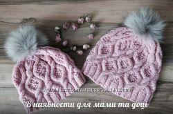 Шапочка для мамы и дочки под заказ