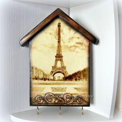 Ключница Эйфелева башня, декупаж. 28х21 см