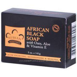 Африканское черное мыло Nubian Heritage, Отшелушивающее мыло Madre Labs 141г