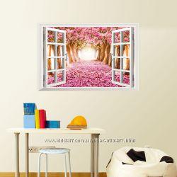 Наклейка 3D на стену, Виниловые наклейки, окно, 2