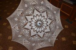 Зонт ажурный вязаный , диаметром-107см ручная работа