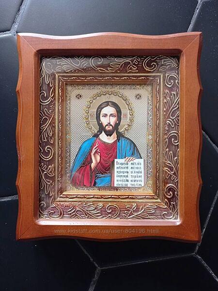 Икона под стеклом с камнями Спаситель