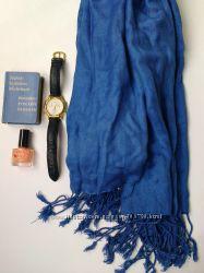 Шарф синий плантин качественный тонкий куплен в dutyfree dubai размер75x178
