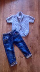 Тёплая, кофта, кардиган для стильной девочки 1-2 года 92 см