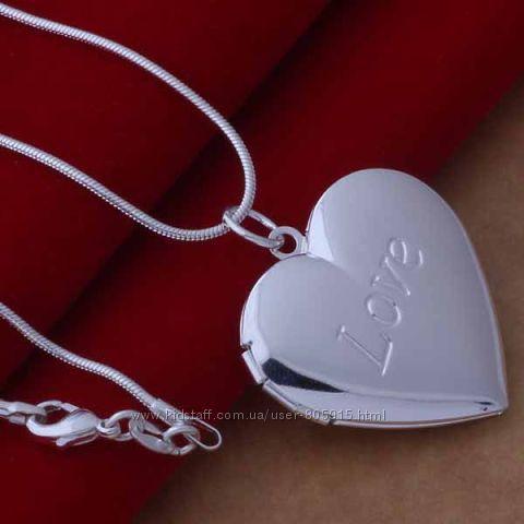Кулон на цепочке Сердце для фото разные