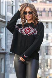 Джемпер свитер вязаный оверсайз в этно стиле 44-52 Выбор Качество