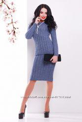 Костюм вязаный джемпер юбка теплый Качество разных цветов