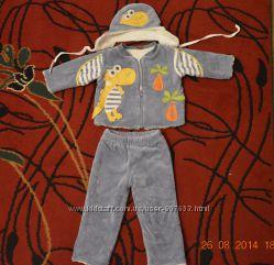Велюровый костюм на меху с шапочкой