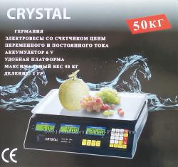 Торговые электронные весы Crystal 50 kg 6 v