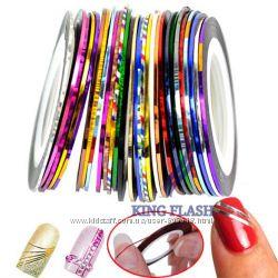 Цветная скотч лента для дизайна ногтей