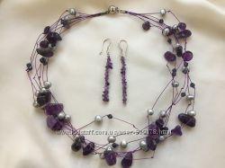 Комплект ожерелье и серьги аметист жемчуг