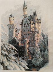 Аукцион - Картина Замок Нойшванштайн вышитая крестиком 63х35