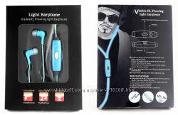 Светящиеся наушники Light Earphone с LED проводом зеленые синие