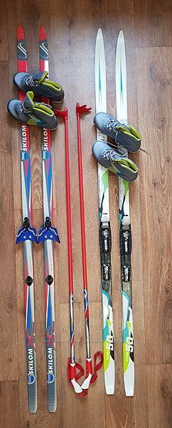 Лыжи SKILOM  палки, ботинки quechua 37.