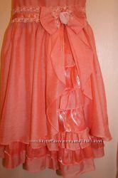 Нарядное коралловое платье