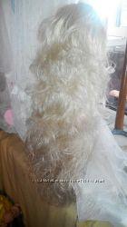 Парик шиньон хвост белый блонд