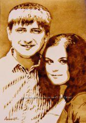 Портреты, нарисованные с помощью КОФЕ по фотографии, под заказ